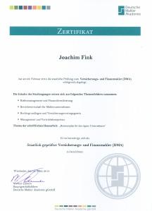 Zertifikat Staatl. Versicherungs- und Finanzmakler